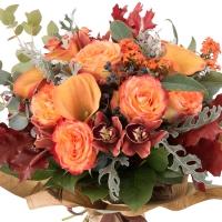 Buchet de Trandafiri, Portocalii, Cale, Cymbidium, Orhidee, Euphorbia, Viburnum, Blue, Muffin, Verde 3