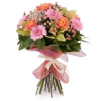 Buchet de Trandafiri, Portocalii, Hypericum, Floare de orez, Gerbera, Cymbidium, Verde, Orhidee, Roz 2