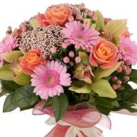 Buchet de Trandafiri, Portocalii, Hypericum, Floare de orez, Gerbera, Cymbidium, Verde, Orhidee, Roz 3