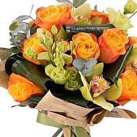 Buchet de Trandafiri, Portocalii, Portocaliu, Lisianthus, Verde, Cymbidium, Orhidee, Aspidistra 3