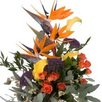 Buchet din Streliția, Strelitzia, Trahelium Mov, Cale galbene, Cală, Minirosa portocalie, Portocaliu 3