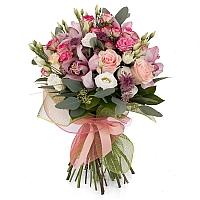 Buchet din Trandafiri roz, Minirosa, Ciclam, Lisianthus, Astrantia, Cymbidium, Orhidee, Verdeață 2