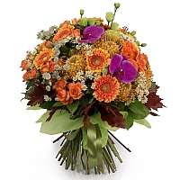 Buchet Leucospermum, Gerbera, Lisianthus, Phalaenopsis, Mușețel, Astrantia, Minirosa, Frunză Arțar 2
