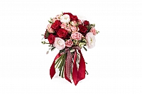 Buchet Mireasa/Nasa ranunculus si trandafiri rosii 2