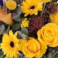 Coș cu gerbera, trandafiri, cale 4