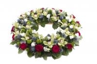 Coroana funerara rotunda trandafiri si cymbidium 2