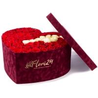 Cutie cu trandafiri roșii și albi  2