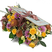 Hortensia, Hortensie, Minirosa, Crizanteme, Crizantemă, Lisianthus, Dalii, Astrantia, Cutie, Verde 2