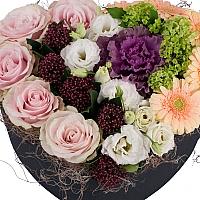 Trandafiri, Roz, Schimia, Lisianthus, Alb, Brasica, Mov, Viburnum, Gerbera, Crem, Cutie, Inimă 3