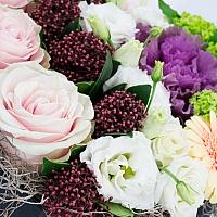 Trandafiri, Roz, Schimia, Lisianthus, Alb, Brasica, Mov, Viburnum, Gerbera, Crem, Cutie, Inimă 4