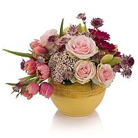 Aranjament de Trandafiri, Lalele, Lalea, Gerbera, Floare de orez, Cymbidium, Orhidee, Astrantia, Vas 2