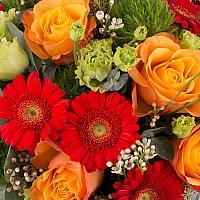 Aranjament de Trandafiri, Portocalii, Portocaliu, Gerbera, Green trick, Lisianthus, Waxflower, Verde 3