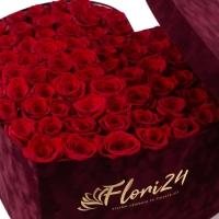 Aranjament din trandafiri roșii sau Cutie cu trandafiri roșii 2