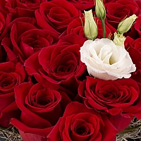 Aranjament din trandafiri roșii și lisiantus alb 3
