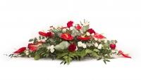 Aranjament floral funerar Trandafiri rosii , Trandafiri albi si Anthurium rosu 2