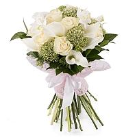 Buchet de 11, Trandafiri, Albi, 10, Cale, Albe. Cală, 2, Eucharis, Grandiflora, Verdeață 2