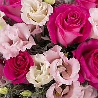 Buchet de 11, Trandafiri, Ciclam, 7, Lisianthus, Roz, Senecio, Cineraria, Verdeață 4