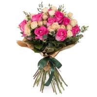 Buchet de 15, Trandafiri, Ciclam, 7, Minirosa, Crem, Verdeață 2