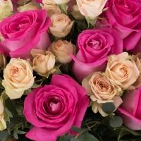 Buchet de 15, Trandafiri, Ciclam, 7, Minirosa, Crem, Verdeață 4