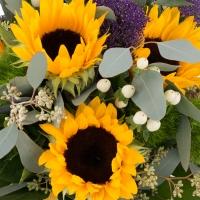 Buchet de 5, Floarea soarelui, 3, Trahelium, Mov, 4, Hypericum, Alb, 4, Green trick, Verdeață 4