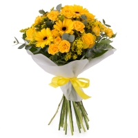 Buchet de 5, Trandafiri, Galbeni, 5, Minirosa, Galbenă, 5, Gerbera, Galbenă, 5, Solidago, Verdeață 2