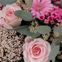 Buchet de 5, Trandafiri, Roz, 3, Bouvardia, 5, Gerbera, 2, Floare de orez, Verdeață 3