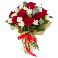 Buchet de 9, Trandafiri, Roșii, Roșu, 20, Lalele, Albe, Lalea, Verdeață 2