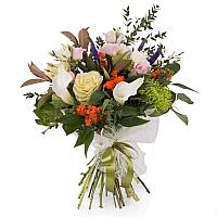 Buchet de Brasica, Lisianthus, Euphorbia, Crizanteme, Green spider, Veronica, Cale, Albe, Cală 2