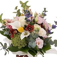 Buchet de Trandafiri, Cale, Antirrhinum, Lisianthus, Ami, Cymbidium, Orhidee, Veronica, Craspedia 2