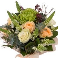 Buchet de Trandafiri, Peach, Ornitogalum, Alb, Schimia, Crizanteme, Green spider, Verdeață 2