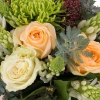 Buchet de Trandafiri, Peach, Ornitogalum, Alb, Schimia, Crizanteme, Green spider, Verdeață 3