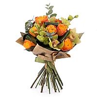 Buchet de Trandafiri, Portocalii, Portocaliu, Lisianthus, Verde, Cymbidium, Orhidee, Aspidistra 2