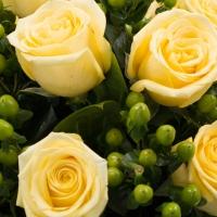 Buchet din 9, Trandafiri, Galbeni, 10, Hypericum, Verde, Verdeață 3