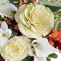 Buchet din Brasica, Euphorbia portocalie, Ornitogalum, Cale, Cală, Eucharis, Grandiflora, Verdeață 4