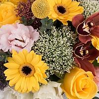 Coș cu trahelium, trandafiri, cale si gerbera 3