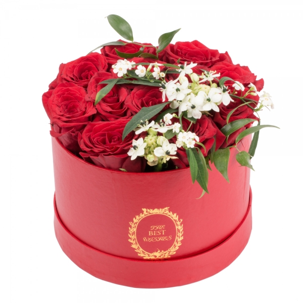 Aranjament de 13, Trandafiri, Roșii, Roșu, Roșie, 2, Ornitogalum, 1, Euphorbia, Albă, Cutie, Rotundă