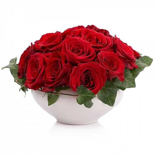 Aranjament de 19, Trandafiri, Roșii, Roșu, Roșie, Vas ceramic