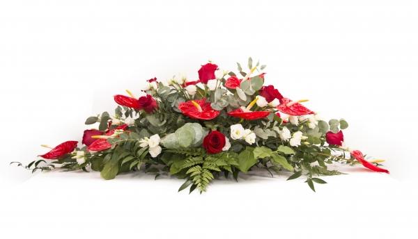 Aranjament floral funerar Trandafiri rosii , Trandafiri albi si Anthurium rosu