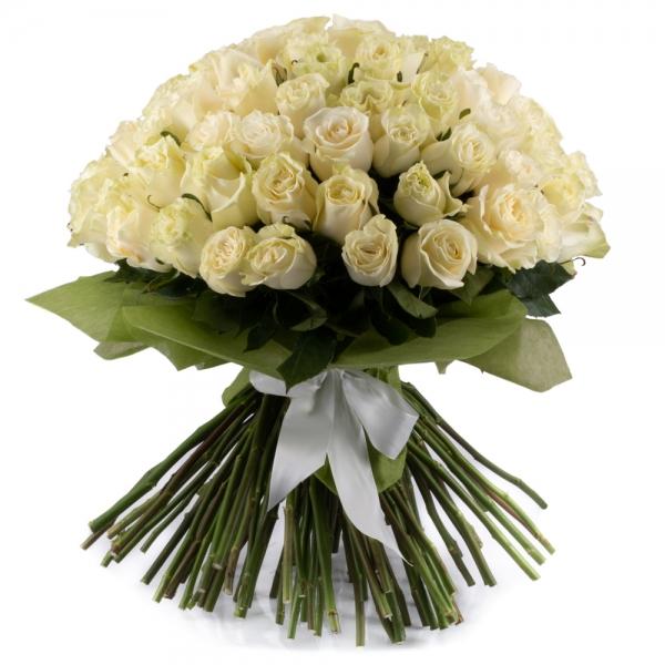 Buchet de 101 trandafiri albi