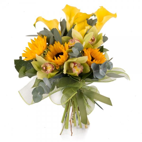 Buchet de 5, Cale, Galbene, Cală, 3, Floarea soarelui, 1 Cymbidium, Verde, Orhidee, Verdeață