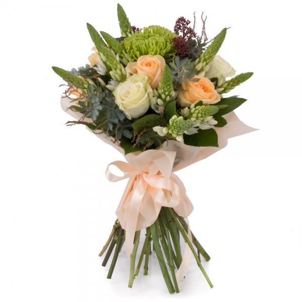 Buchet de Trandafiri, Peach, Ornitogalum, Alb, Schimia, Crizanteme, Green spider, Verdeață