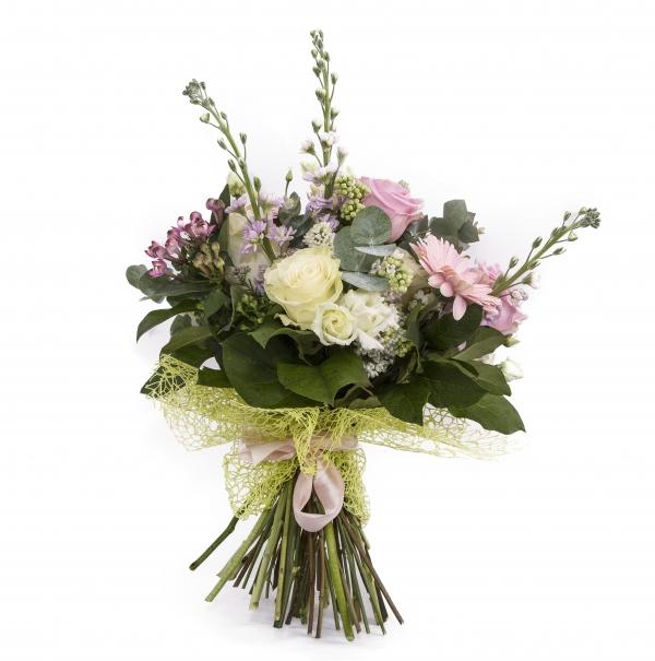Buchet trandafiri alb , ciclam si gerebera