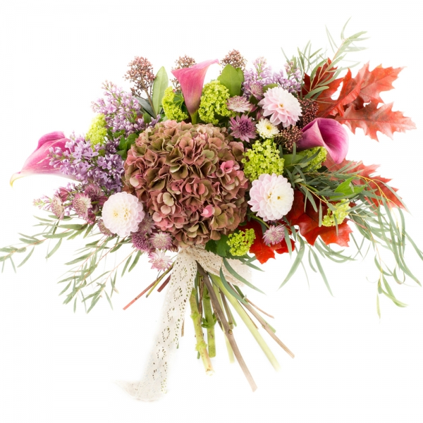 Hortensia, Cappucino, Dalii, Liliac, Cale, Cală, Viburnum, Astrantia, Eucalipt, Frunze de arțar