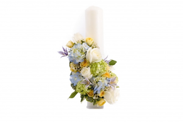 Lumanare nunta/botez hortensia albastra