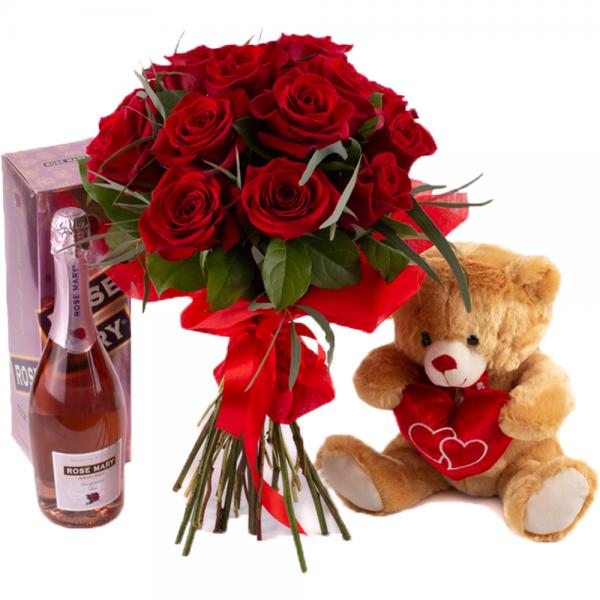 Trandafiri, ursuleț și vin spumant la preț special