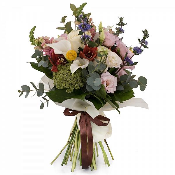 Buchet de Trandafiri, Cale, Antirrhinum, Lisianthus, Ami, Cymbidium, Orhidee, Veronica, Craspedia