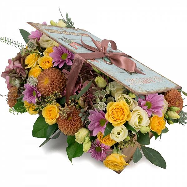 Hortensia, Hortensie, Minirosa, Crizanteme, Crizantemă, Lisianthus, Dalii, Astrantia, Cutie, Verde
