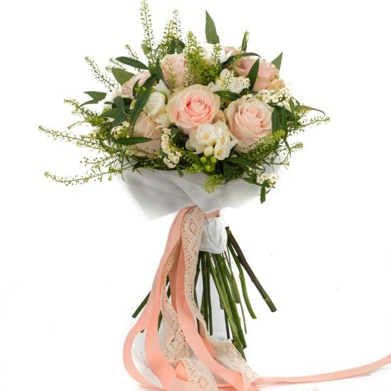 Buchet de 9, Trandafiri, Roz, 8, Frezii, Albe, Frezie, 6, Euphorbia, Albă, Verdeață