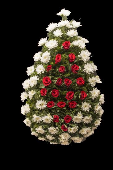 Coroana funerara din crizantema alba si trandafiri rosii in centru