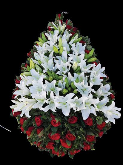 Coroana funerara clasica din trandafiri si crini